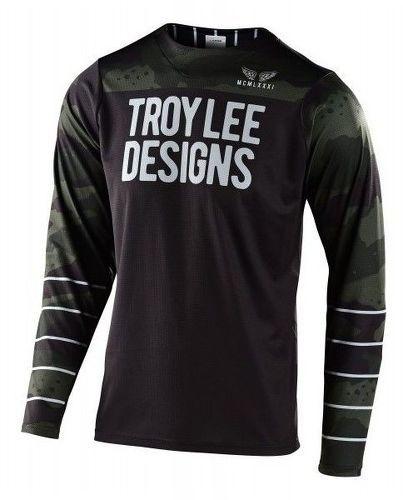 Troy lee designs-TROY LEE DESIGNS MAILLOT SKYLINE LS PINSTRIPE CAMO GREEN/BLACK-image-1