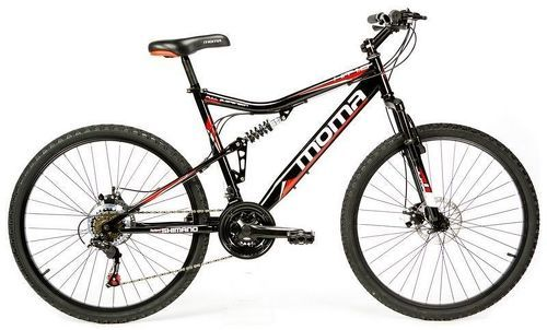 "MOMABIKES-Moma Bikes Vélo VTT, HIT26"", SHIMANO 21V, Freins a Disque, Suspension Avant-image-2"